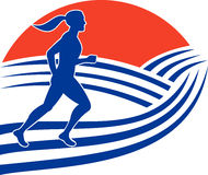 Female marathon runner race Royalty Free Stock Photography