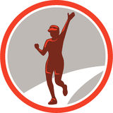 Female Marathon Runner Running Circle Retro Stock Images
