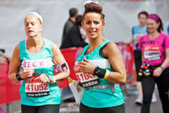 Female marathon runners Stock Photo