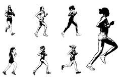 Female marathon runners sketch illustration Stock Images