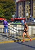 Female marathoner Sofia boulevard Royalty Free Stock Photo