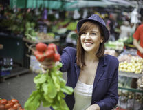 Female At Market Place Royalty Free Stock Photo