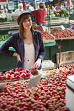 Female At Market Place Royalty Free Stock Photos