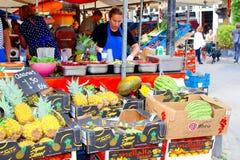 Fruit juices market stall people, Jordaan Amsterdam, Netherlands Stock Images