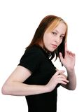 Female martial artist ready pose Royalty Free Stock Photos