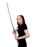 Female martial artist with sword Royalty Free Stock Images