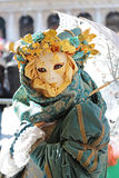 Female mask with umbrella at Carnival of Venice Stock Images