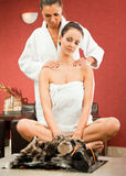 Female massage relax spa Stock Images