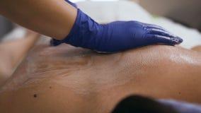 Female masseur hands making massage in the spa salon.