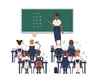 Female math teacher explaining summation to elementary school kids or pupils. Smiling african american woman teaching. Mathematics or arithmetic to children royalty free illustration