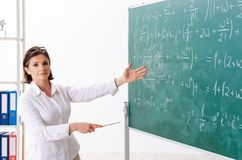 The female math teacher in front of the chalkboard. Female math teacher in front of the chalkboard stock images