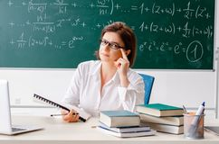 The female math teacher in front of the chalkboard. Female math teacher in front of the chalkboard royalty free stock photo