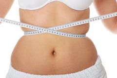Female measuring her belly Royalty Free Stock Image
