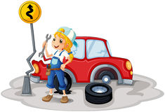 A female mechanic near the car accident Royalty Free Stock Image