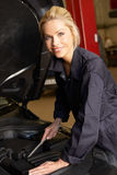 Female mechanic at work royalty free stock photos