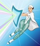 Female medic as a superhero fighting disease. A female medical professional in superhero costume with a shield protecting from dangers and disease Stock Photography