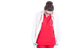 Female medic wearing medical uniform Stock Photo