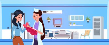 Female Medical Doctor Give Newborn To Happy Mother In Hospital Ward. Flat Vector Illustration vector illustration