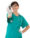 Female medical healthcare doctor with thermometer Stock Photo