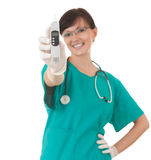 Female medical healthcare doctor with thermometer Royalty Free Stock Photo