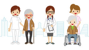 Female Medical Occupation team and elderly women Cityscape background Stock Photo