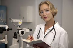 Female medical professional. Ophthalmology clinic stock images