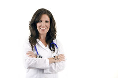 Female medical professional. Smiling female medical professional isolated Royalty Free Stock Images