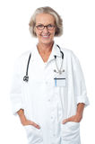 Female medical professional with stethoscope Stock Images