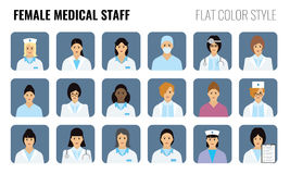 Female Medical staff - people icons. Set of Women doctors. Female Medical staff - people icons. Set of Women doctor icons with flat color style design Stock Photo
