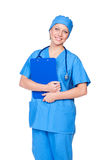 Female in medical uniform with pad Royalty Free Stock Image