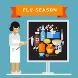 Female medical worker giving presentation on flu Stock Images