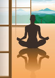 Female meditation silhouette. In quiet room with a nice view Royalty Free Stock Photo