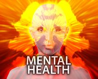 Female mental health inkblot. Female psychiatric treatment mental health rorschach inkblot concept stock illustration