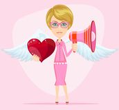 Female messenger angel with beautiful wings gives Stock Images