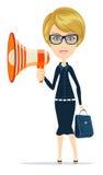 Female messenger negotiator with a loudspeaker Stock Image