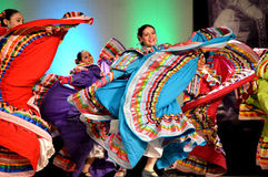 Female Mexican Dancers. At the Holiday Folk Fair International at the State Fair Park in Milwaukee, WI stock photos