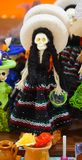 Female mexican skeleton. Small sculpture made of plastic, female figure of a mexican catrina, woman wearing a traditional zarape and a charro hat, decorative Stock Photography