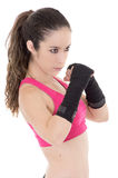 Female mixed martial arts fighter in MMA style Royalty Free Stock Image