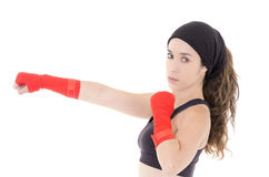 Female mixed martial arts fighter in MMA style Royalty Free Stock Photo