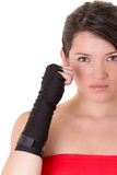 Female MMA fighter training white background Royalty Free Stock Photography