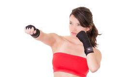 Female MMA fighter training white background Stock Photo