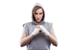Female MMA fighter in a white background isoleted Stock Photography