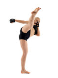 Female MMA fighter on white Royalty Free Stock Image