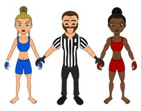 Female MMA fighters and a referee cartoon stock illustration