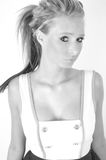 Female model. Black and white image of a female fashion model.  her hair up and a white top Royalty Free Stock Photo