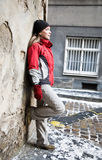 Female model. Leaning against a wall Stock Images