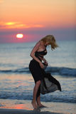 Female model on the beach Royalty Free Stock Image