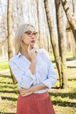 Female young model businesswoman outdoors, portrait Stock Photography