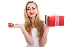 Female model carrying presents Stock Photo