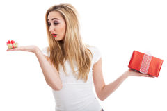 Female model carrying presents Stock Photography
